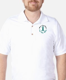 Teal Ribbon For My Wife 4 Golf Shirt