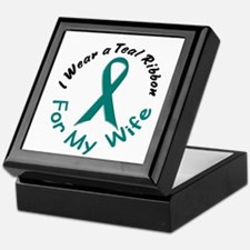 Teal Ribbon For My Wife 4 Keepsake Box