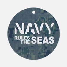 Navy Rules Blue Camo Ornament (Round)