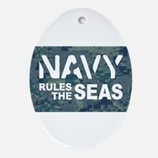Navy Rules Blue Camo Ornament (Oval)