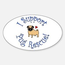 Pug Rescue (Fawn) Oval Decal