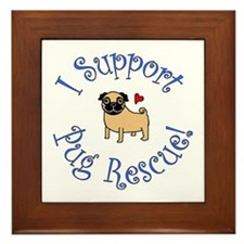 Pug Rescue (Fawn) Framed Tile