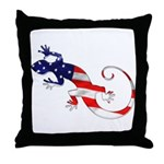 Gecko Patriotic Throw Pillow