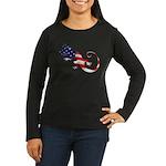 Gecko Patriotic Women's Long Sleeve Dark T-Shirt