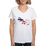 Gecko Patriotic Women's V-Neck T-Shirt