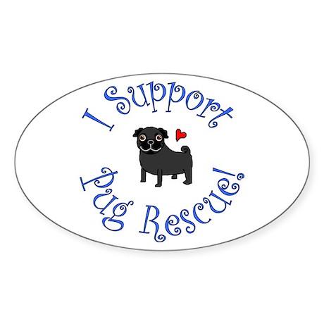 Pug Rescue (Black) Oval Sticker