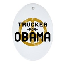 Trucker for Obama Oval Ornament
