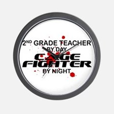 2nd Grde Tchr Cage Fighter by Night Wall Clock