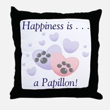 Happiness is . . . a Papillon Throw Pillow