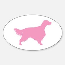 Pink English Setter Oval Decal