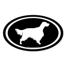 English Setter Oval (white on blk) Oval Decal
