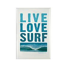 Live, Love, Surf - Rectangle Magnet