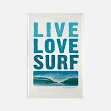 Live, Love, Surf - Rectangle Magnet