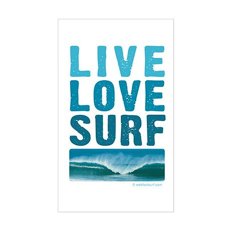 Live, Love, Surf - Rectangle Sticker