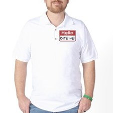 Bite Me Name Tag T-Shirt