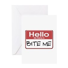 Bite Me Name Tag Greeting Card