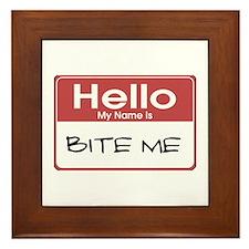 Bite Me Name Tag Framed Tile
