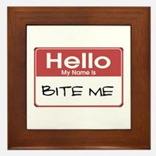 Bite Me Name Tag Framed Tile