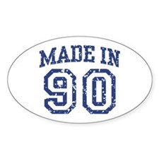 Made in 90 Oval Decal