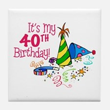 It's My 40th Birthday (Party Hats) Tile Coaster