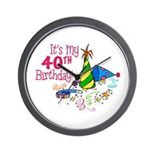 It's My 40th Birthday (Party Hats) Wall Clock