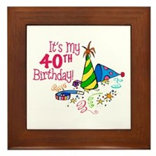 It's My 40th Birthday (Party Hats) Framed Tile