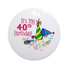 It's My 40th Birthday (Party Hats) Ornament (Round
