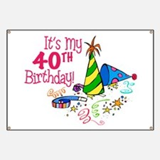 It's My 40th Birthday (Party Hats) Banner