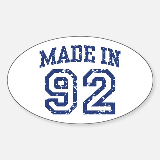Made in 92 Oval Decal