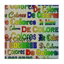 De Colores Fonts Tile Coaster