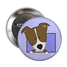 "Cartoon Brown Border Collie 2.25"" Button"