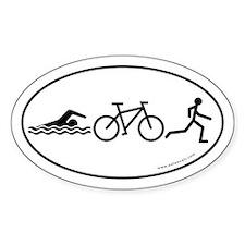 Triathlon Evolution Bumper Oval Sticker -White