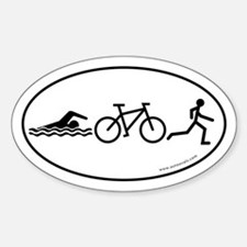 Triathlon Evolution Bumper Oval Sticker -White