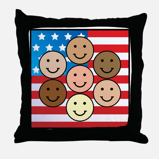 America People of Many Colors Throw Pillow