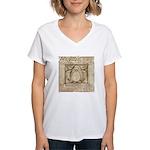 Vitruvian Penguin Women's V-Neck T-Shirt