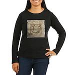 Vitruvian Penguin Women's Long Sleeve Dark T-Shirt