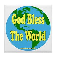 God Bless The World Tile Coaster