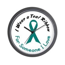 Teal Ribbon For Someone I Love 4 Wall Clock