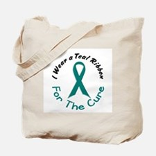 Teal Ribbon For The Cure 4 Tote Bag
