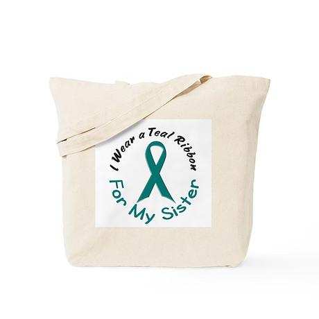 Teal Ribbon For My Sister 4 Tote Bag