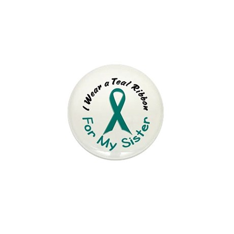 Teal Ribbon For My Sister 4 Mini Button (100 pack)