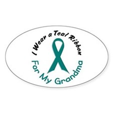 Teal Ribbon For My Grandma 4 Oval Decal