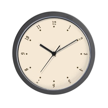 Quaint Wall Clock with Antique Numbers and Stars