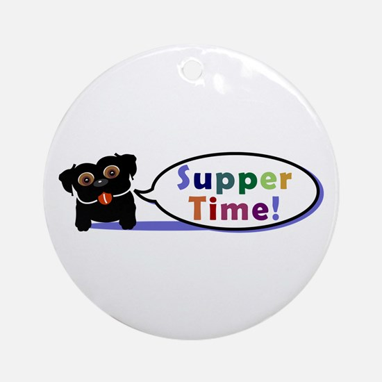 Suppertime Pug Ornament (Round)