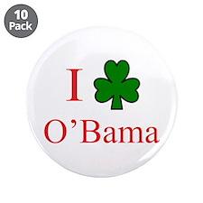 """I [Shamrock] O'Bama 3.5"""" Button (10 pack)"""
