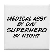 Med Asst Superhero by Night Tile Coaster