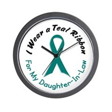 Teal Ribbon For My Daughter-In-Law 4 Wall Clock