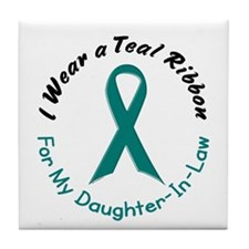 Teal Ribbon For My Daughter-In-Law 4 Tile Coaster