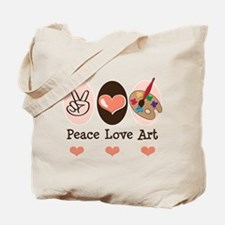 Peace Love Art Teacher Artist Tote Bag