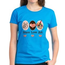 Peace Love Art Teacher Artist Tee